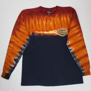 Harley Davidson Tie Dye Flames Graphic T-Shirt